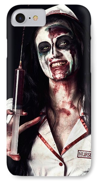 Dead Nurse Taking Blood Donation With Syringe IPhone Case