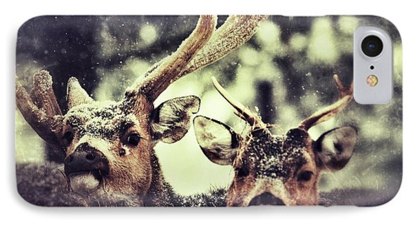 IPhone Case featuring the photograph Deer In The Snow by Nick  Biemans