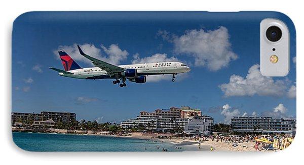 Delta Air Lines Landing At St Maarten IPhone Case by David Gleeson