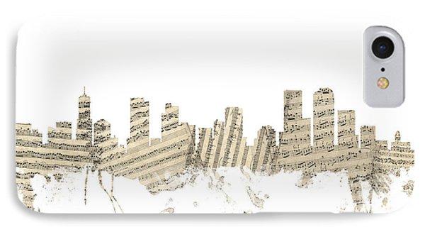 Denver Colorado Skyline Sheet Music Cityscape IPhone Case by Michael Tompsett