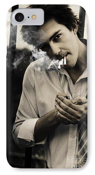 Depressed Business Man Smoking 3 Cigarettes IPhone Case