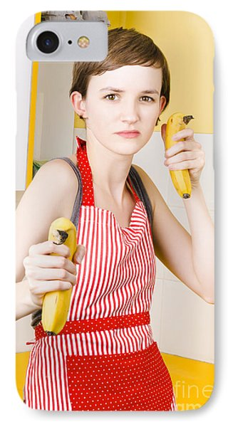Dietician Shooting Banana Guns In Kitchen IPhone Case