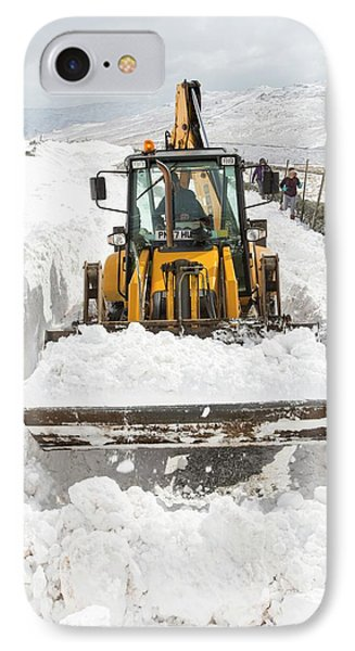 Digger Clearing Snow Drifts IPhone Case by Ashley Cooper