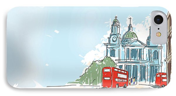 Digital Illustration St Paul Cathedral London Uk IPhone Case by Jorgo Photography - Wall Art Gallery