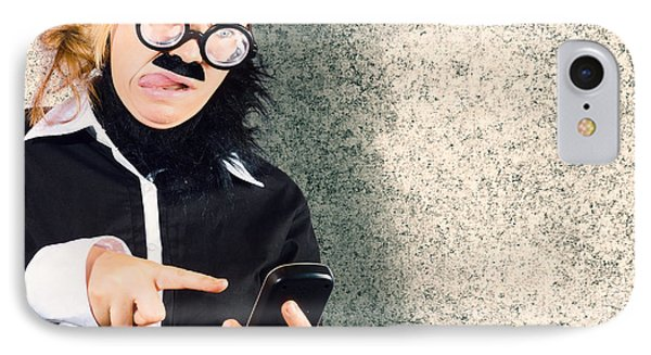 Dorky Businessman Texting On Mobile Smart Phone IPhone Case by Jorgo Photography - Wall Art Gallery