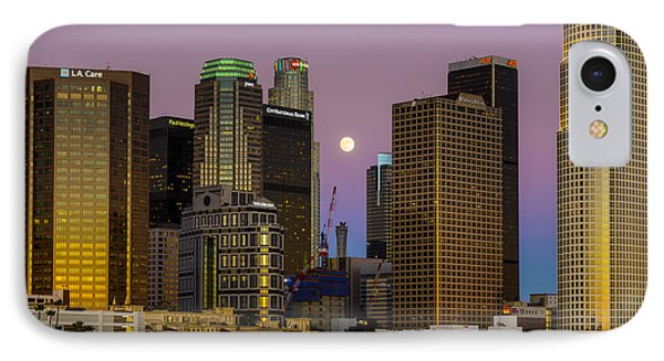 Downtown Los Angeles Moonrise IPhone Case