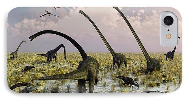 Duckbill Dinosaurs And Large Sauropods Phone Case by Mark Stevenson