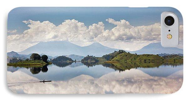 Dugout Canoe Floating On Lake Mutanda IPhone Case by Martin Zwick