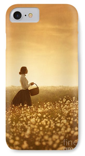 Edwardian Woman In A Meadow At Sunset Phone Case by Lee Avison