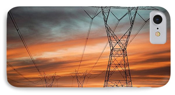 Electricity Pylons IPhone Case by Jim West