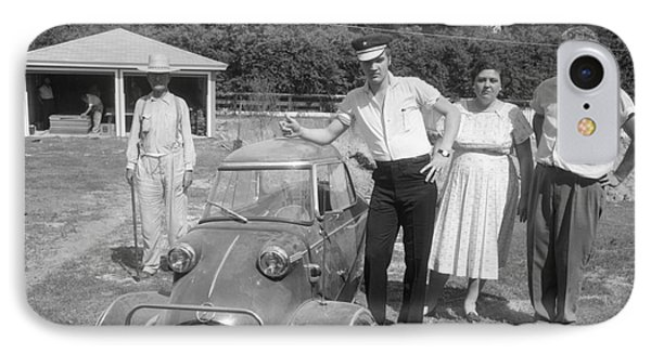 Elvis And His Messerschmitt With Vernon And Gladys Presley 1956 IPhone Case by The Harrington Collection