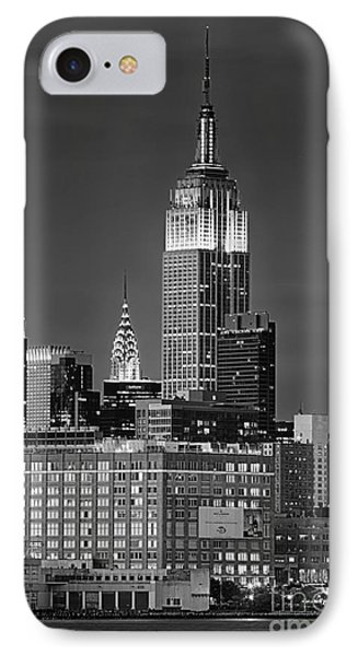 Empire And Chrysler Buildings IPhone Case