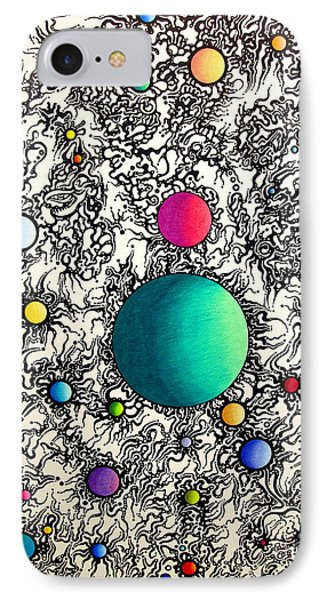 IPhone Case featuring the drawing Entropy Color Variation 6 by Devin  Cogger
