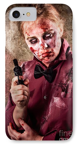 Evil Demented Zombie Holding Hand Gun. Robbery IPhone Case by Jorgo Photography - Wall Art Gallery