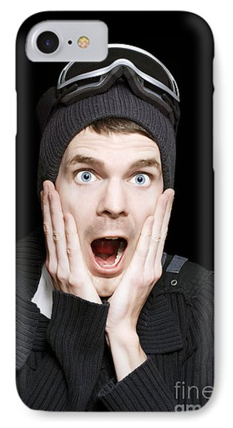Excited Face Of A Surprised Man Wearing Ski Gear IPhone Case by Jorgo Photography - Wall Art Gallery