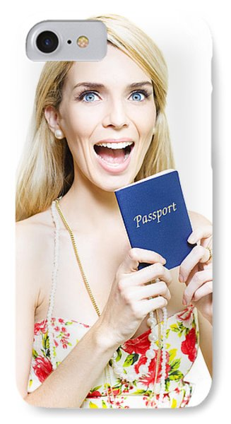 Excited Woman Clutching A Passport IPhone Case by Jorgo Photography - Wall Art Gallery