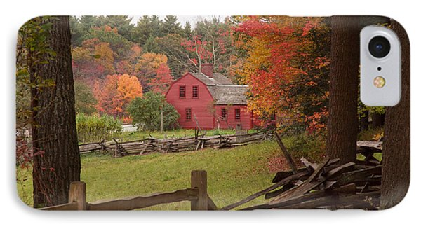 Fall Foliage Over A Red Wooden Home At Sturbridge Village Phone Case by Jeff Folger