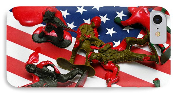Fallen Toy Soliders On American Flag Phone Case by Amy Cicconi
