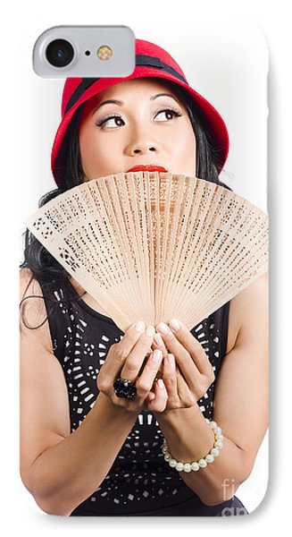 Fan Of Asia. Stylish Chinese Lady With Oriental Fan IPhone Case by Jorgo Photography - Wall Art Gallery