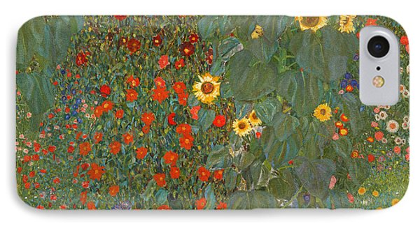 Farm Garden With Sunflowers IPhone Case by Gustav Klimt