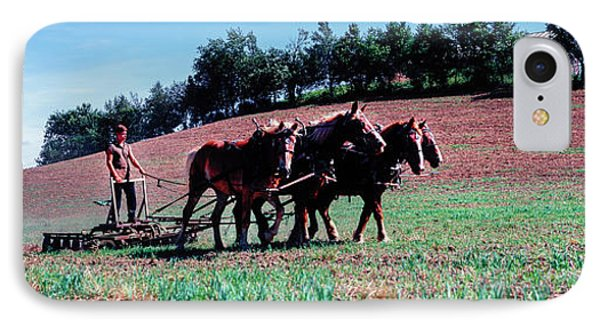Farmer Plowing Field With Horses, Amish IPhone Case by Panoramic Images
