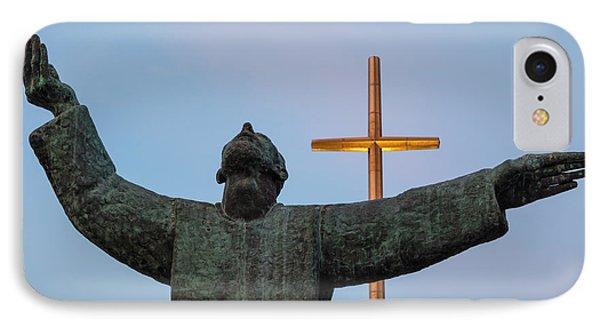 Father Francisco Lopez De Mendoza Grajales Statue At Sunset Mission Nombre De Dios St. Augustine Fl IPhone Case by Dawna  Moore Photography