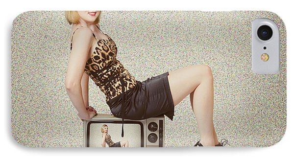 Female Television Show Actress On Old Tv Set Phone Case by Jorgo Photography - Wall Art Gallery