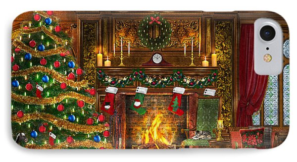 Festive Fireplace IPhone Case by Dominic Davison