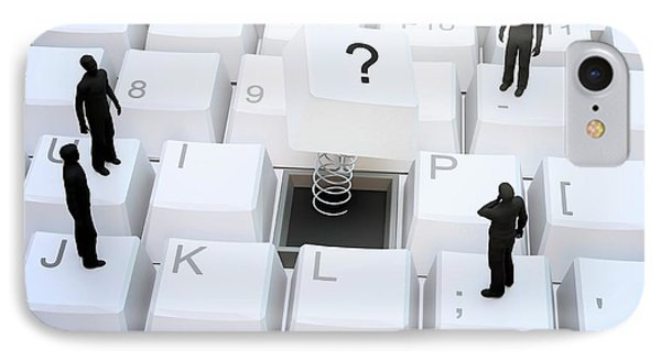 Figures On Computer Keyboard IPhone Case by Andrzej Wojcicki