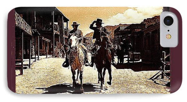 Film Homage Mark Slade Cameron Mitchell Riding Horses The High Chaparral Old Tucson Az C.1967-2013 IPhone Case by David Lee Guss