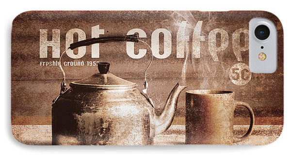 Fine Art Coffee Shop Tin Sign Insignia IPhone Case by Jorgo Photography - Wall Art Gallery