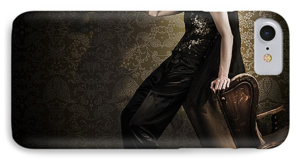 Fine Art Grunge Fashion Portrait In Dark Interior IPhone Case by Jorgo Photography - Wall Art Gallery