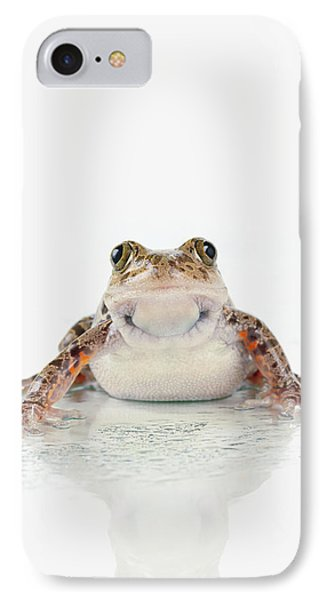 Fire-leg Walking Frog On White Phone Case by Corey Hochachka