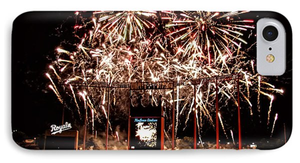 Fireworks At Kauffman Stadium Phone Case by Alan Hutchins