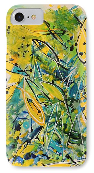 IPhone Case featuring the painting Fish Frenzy by Lyn Olsen