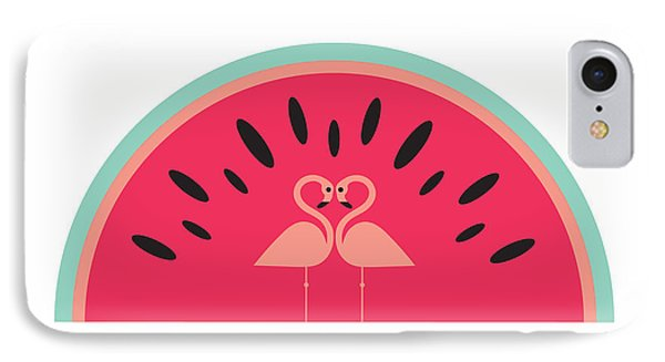 Flamingo Watermelon IPhone 7 Case by Susan Claire