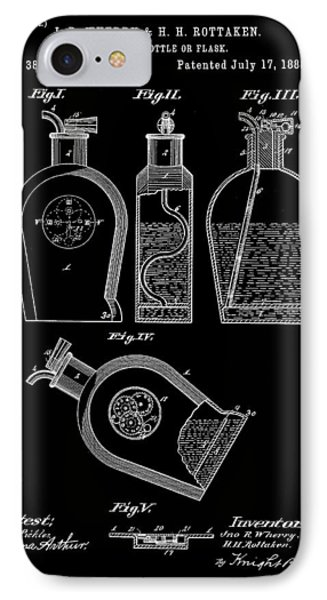 Flask Patent 1888 - Black IPhone Case by Stephen Younts