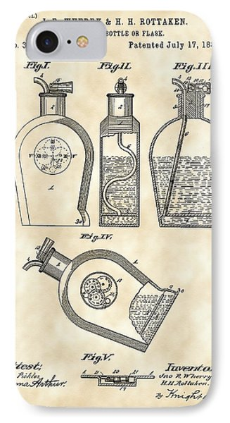 Flask Patent 1888 - Vintage IPhone Case by Stephen Younts