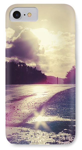 Florescent Road Sunset. Passing Storm Reflection IPhone Case