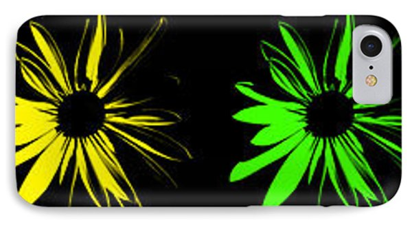 IPhone Case featuring the digital art Flowers On Black by Maggy Marsh