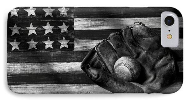 Baseball iPhone 7 Case - Folk Art American Flag And Baseball Mitt Black And White by Garry Gay