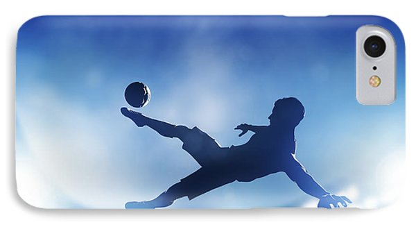 Football Soccer Match A Player Shooting On Goal IPhone Case by Michal Bednarek