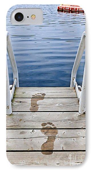 Footprints On Dock At Summer Lake IPhone Case by Elena Elisseeva