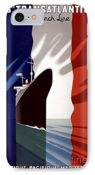 French Line Vintage Travel Poster IPhone Case by Jon Neidert