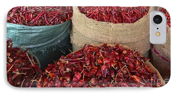 IPhone Case featuring the photograph Fresh Dried Chilli On Display For Sale Zay Cho Street Market 27th Street Mandalay Burma by Ralph A  Ledergerber-Photography
