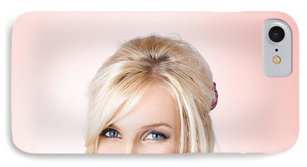 Fresh Faced Makeup Girl With Cosmetic Brush IPhone Case by Jorgo Photography - Wall Art Gallery