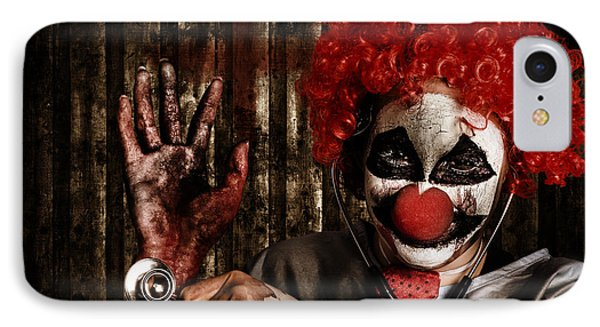 Frightening Clown Doctor Holding Amputated Hand  IPhone Case by Jorgo Photography - Wall Art Gallery
