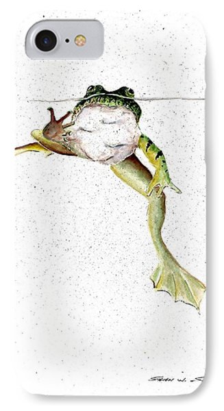 Frog On Waterline IPhone Case by Steven Schultz