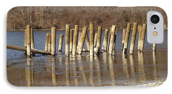IPhone Case featuring the photograph Frozen Pilings by Michael Porchik