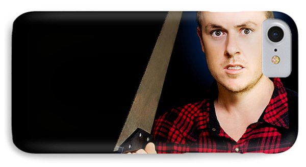 Frustrated Angry Man Brandishing A Saw IPhone Case